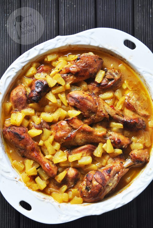 Udka z kurczaka pieczone z ananasem