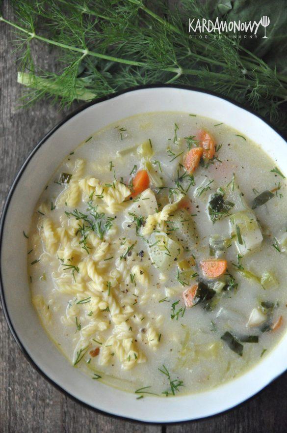 Zupa jarzynowa z młodą kapustą, kalarepą, makaronem i koperkiem