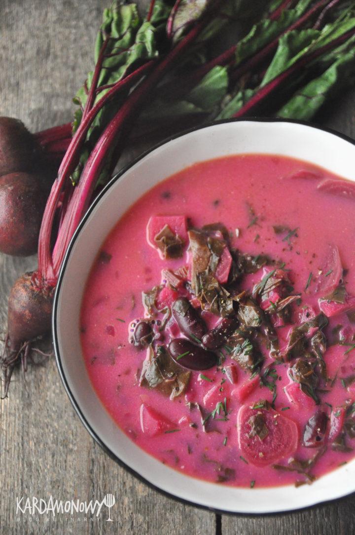 Zupa z botwinki z fasolą i ziemniakami