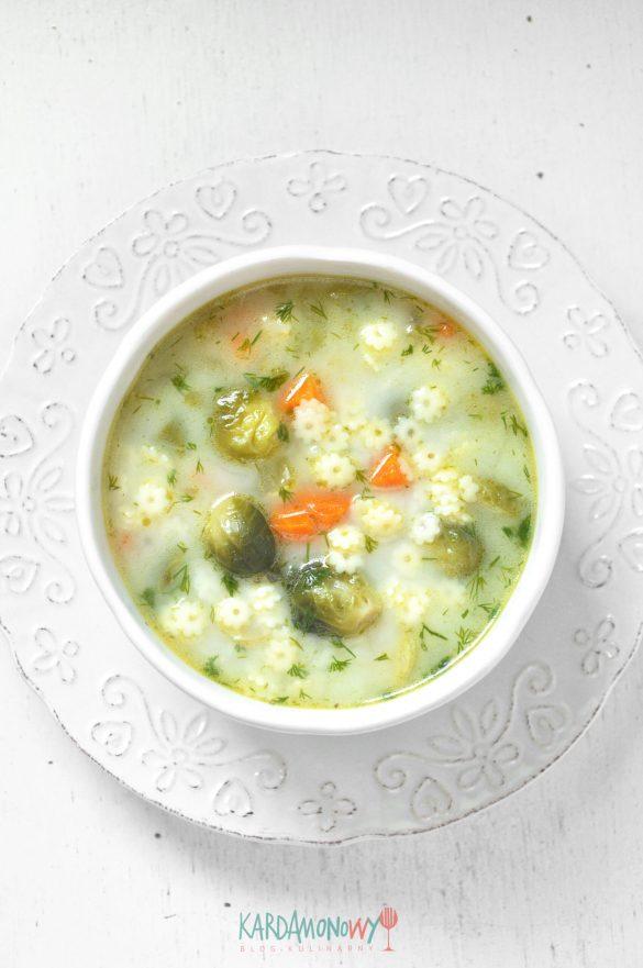 Zupa z brukselką i makaronem